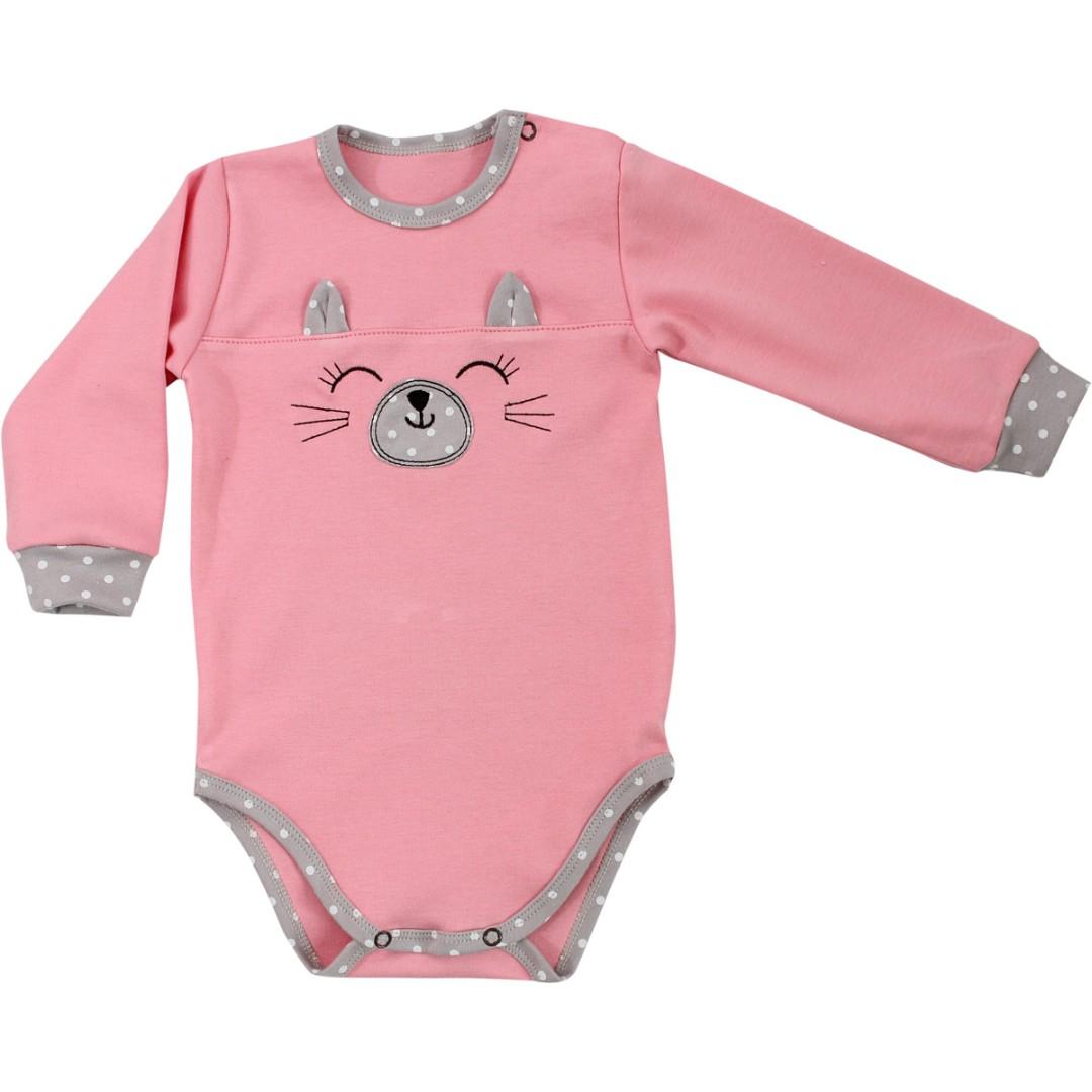 60a1c2b7710d89 Купити боді на довгий рукав з вушками для дітей з бавовняної тканини